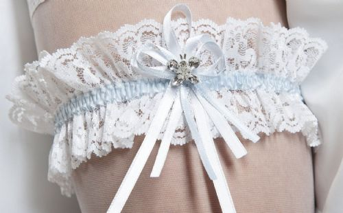 Freya Lace Wedding Garter with Crystal,  Bridal Garter